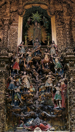 eighteenth: Porto, Portugal - March 23, 2015: Family tree of Jesus Christ in the Bible, Tree of Jesse (since Jesse, the father of King David), surmounted by the Immaculate virgin with the infant Jesus in her arms. Work of the early eighteenth century. Church of St. F