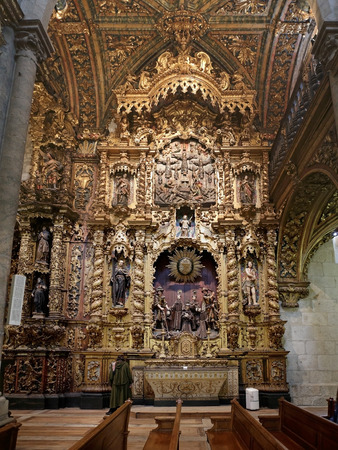made in morocco: Porto, Portugal - March 23, 2015: Altarpiece of the holy martyrs of Morocco of the San Francisco church, made by the brilliant carver Manuel Pereira da Costa Noronha in the year 1750.