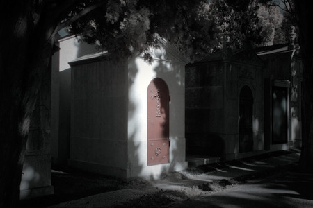 infra red: Old european cemetery chapel. Used infrared filter