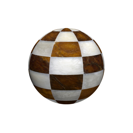 Globe-shaped marble chessboard. Conceptual image. photo