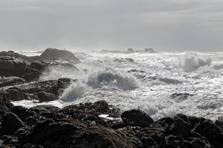 North of Portugal coastline in a day full of moisture Archivio Fotografico