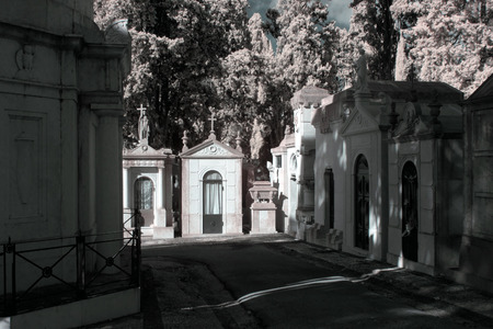 infrared: Old european cemetery chapel. Infrared.