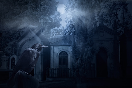frightening: Frightening image with a crow and an old dark cemetery lit by full moon rays Stock Photo