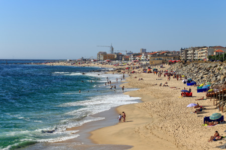 conde: Vila do Conde, Portugal - June 19, 2015: Wide view of Vila do Conde Beach at the start of the bathing season, north of Portugal