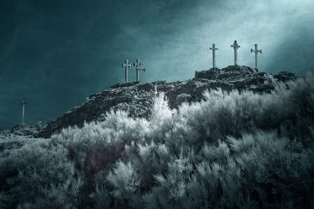 golgotha: Christian crosses on the top of a mountain
