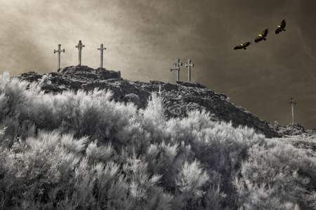 golgotha: Christian crosses on the top of a mountain overflown by griffins. Used analog infrared filter and other digital filters.
