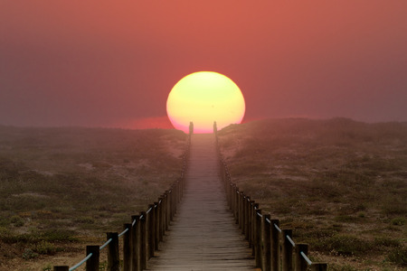 Wooden walkway over a dune near the sea. Path to sun, to summer and vacations. Illustration