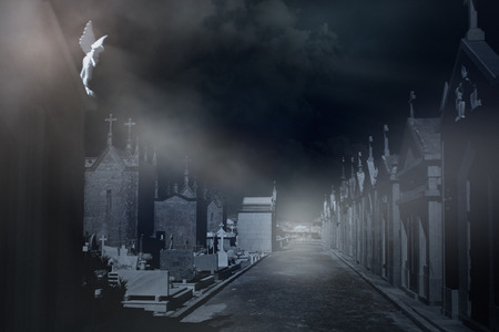 moon angels: Old european cemetery in a misty night Stock Photo