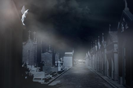 street light: Old european cemetery in a misty night Stock Photo