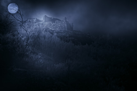 haunted: Old european castle in a foggy full moon night Stock Photo