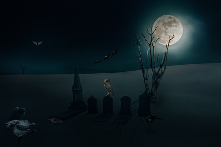 ominous: Surreal image with several ominous birds and other elements related to halloween