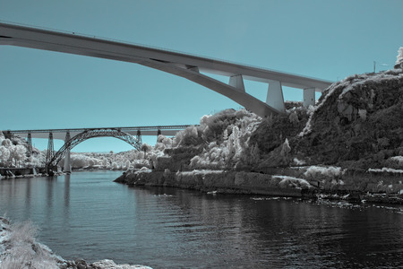 thee: River Douro near the mouth seeing thee of his several bridges. Used infrared filter.