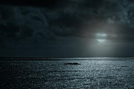 glistening: Glistening sea in a cloudy full moon night