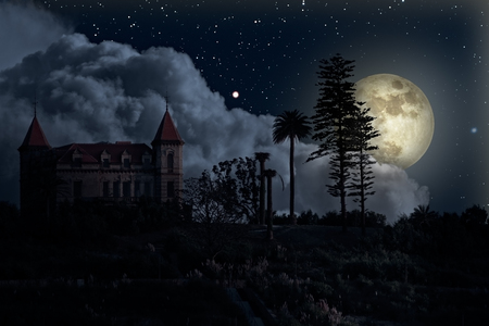 Old mysterious house in a full moon night