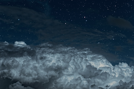 blue star: Starry night sky with some strong clouds