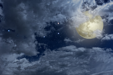 twilight: Full moon night sky with clouds and stars