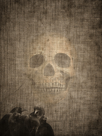 burnt paper: Very old burnt grunge textured paper with crows and skull