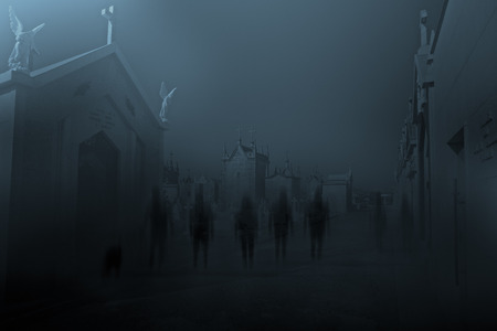 entities: Diffuse entities walking on a street from an old European cemetery in moonlit night
