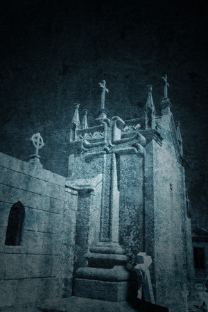 grave stone: Grunge paper background with old european cemetery. Good for halloween. Stock Photo
