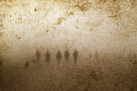 ghost: Very old grunge paper background with zombies or ghosts. Good for halloween.