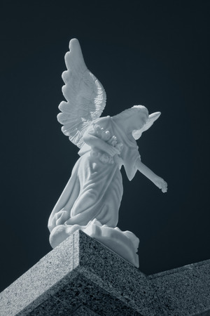 angel cemetery: Marble cemetery angel. Used infrared filter.