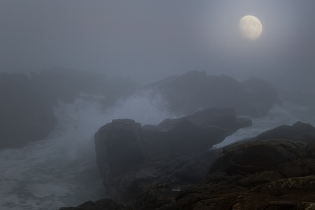 moonlit: Moonlit dangerous rocky coast in a foggy night