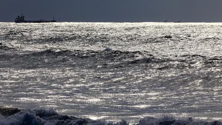 glistening: Glistening sea before rain and storm. North of Portugal.