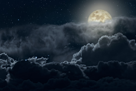 midnight time: Full moon night with strong clouds and stars