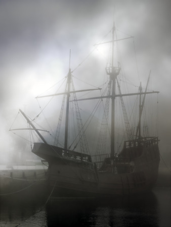 replica: Replica of old discoveries caravel in the middle of fog. Used digital filters.