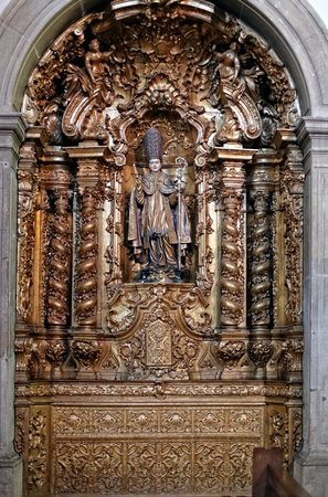 patron of europe: Porto, Portugal - March 4, 2015: Side altar of St. Nicholas church, dedicated to St. Nicholas, the true Christian father christmas.