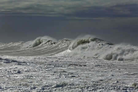 breaking in: Winter seascape with stormy waves breaking in the northwest portuguese coast Stock Photo