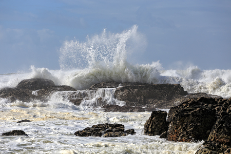 water wave: Strong waves breaking in a rocky beach from portuguese northwest coast