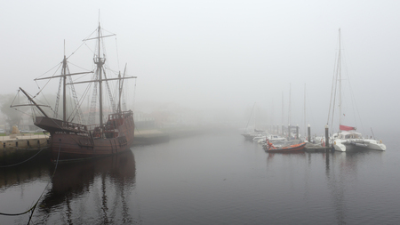 conde: Vila do Conde, Portugal - September 25, 2015: Replica of caravel from the time of discoveries, moored at the mouth of the River Ave and his marina, Vila do Conde, a former place of wooden ship construction. Editorial