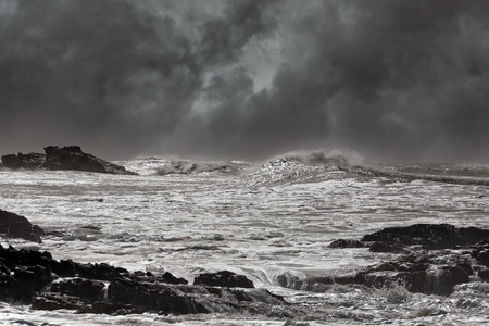 ocean storm: Typical sea storm from northern portuguese coast. Slightly enhanced sky