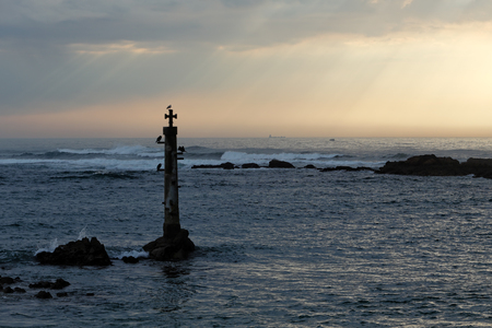 conde: Vila do Conde coast sunset, north of Portugal, in early spring with interesting sky