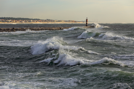 ave: Sunny stormy seascape. Ave river mouth, north of Portugal.