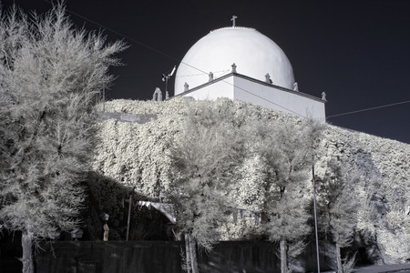 ave: Socorro Chapel (assistance, relief) of mid-sixteenth century located at the mouth of the river Ave, north of Portugal. Used infrared filter