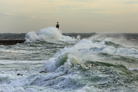 conde: Autumn sea storm at the mouth of the Ave river, north of Portugal