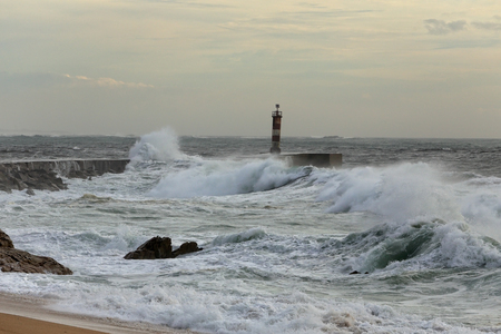 ave: Autumn sea storm at the mouth of the Ave river, north of Portugal