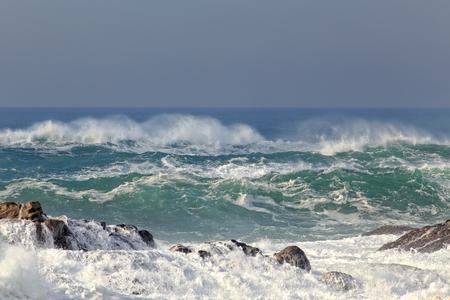 Late autumn choppy green sea. Northern portuguese coast