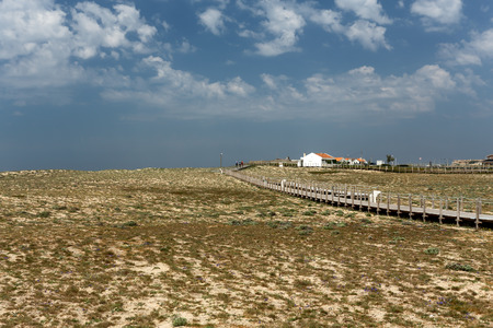 camino: Sea dune old fisherman village and walkway, also used in the Camino de Santigo, north of Portugal Stock Photo