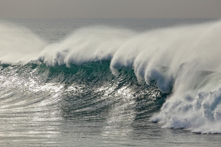breaking wave: Detailed big breaking wave with spray. North of Portugal.