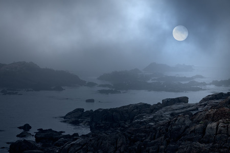 Rocky sea coast in a foggy full moon night. Were used some digital filters including noise.