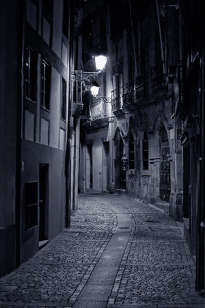 Old alley from Oporto by night. High ISO photo.