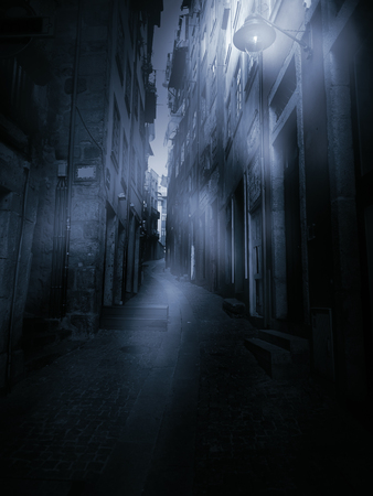 personal perspective: Old European narrow street in a foggy dawn (personal perspective)