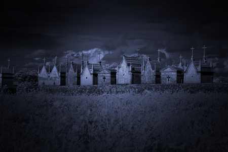 toned: Old European cemetery. Used infrared filter. Toned blue.