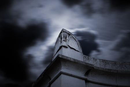 life and death: Cemetery entrance. Conceptual image about life, death and time.