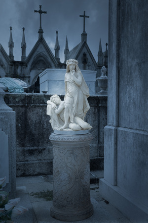 allegory: Allegory statue to night and silence of an old European cemetery