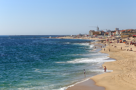 conde: Vila do Conde, Portugal - June 19, 2015: beautiful beach during early summer in the north of Portugal