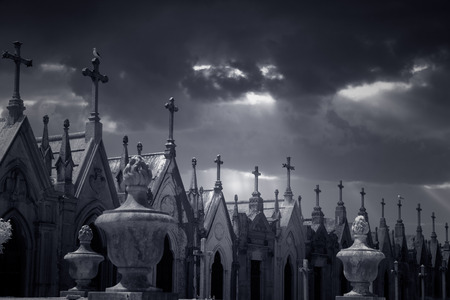 lightbeam: Many granite tombs in the form of  chapel topped with crosses from an old european cemetery. Used infrared filter.